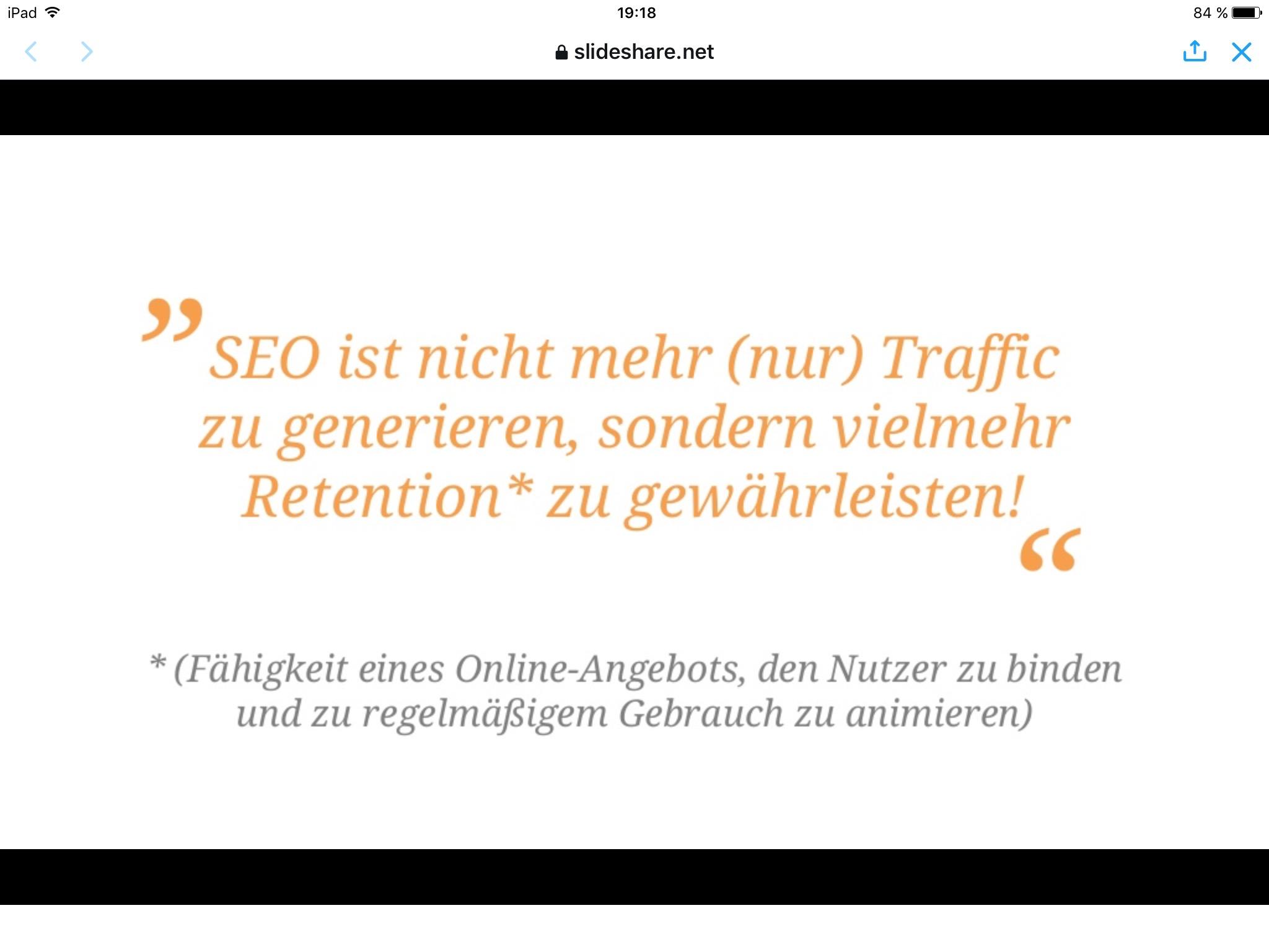 """""""SEO ist nicht mehr (nur) Traffic zu generieren, sondern vielmehr Retention zu gewährleisten."""""""